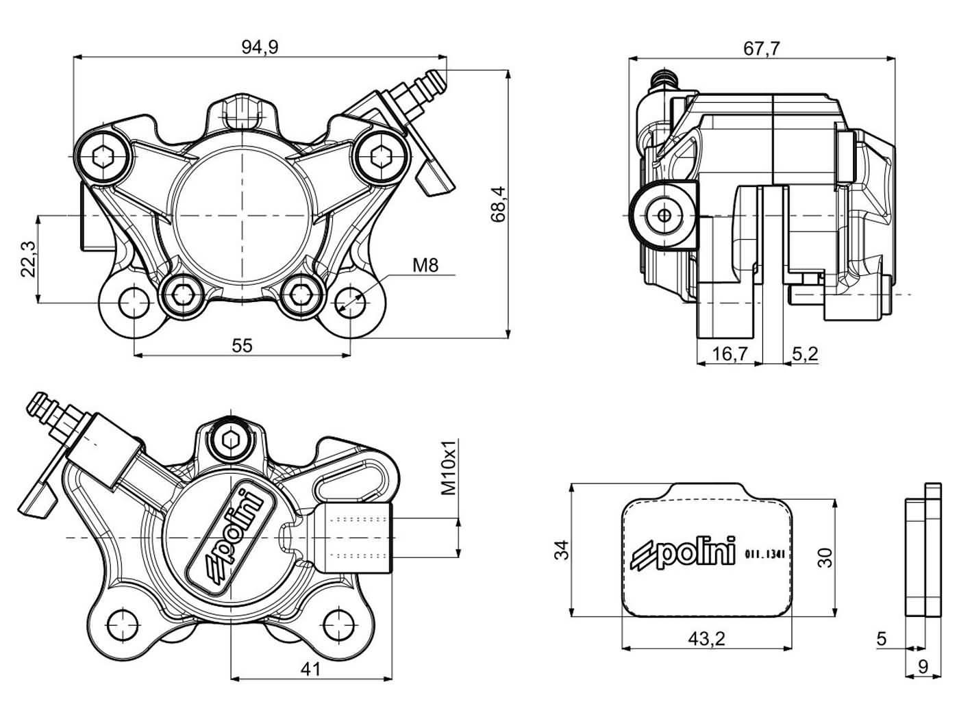 Front Brake Caliper Polini Cnc Racing For Derbi Gilera Piaggio Zip Vespa Px200e Wiring Diagram Sp