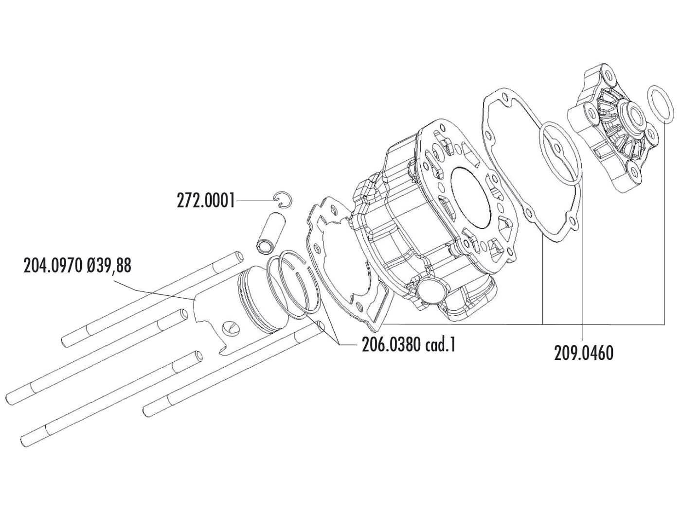 cylinder kit Polini cast iron sport 50cc for Piaggio / Derbi engine D50B0