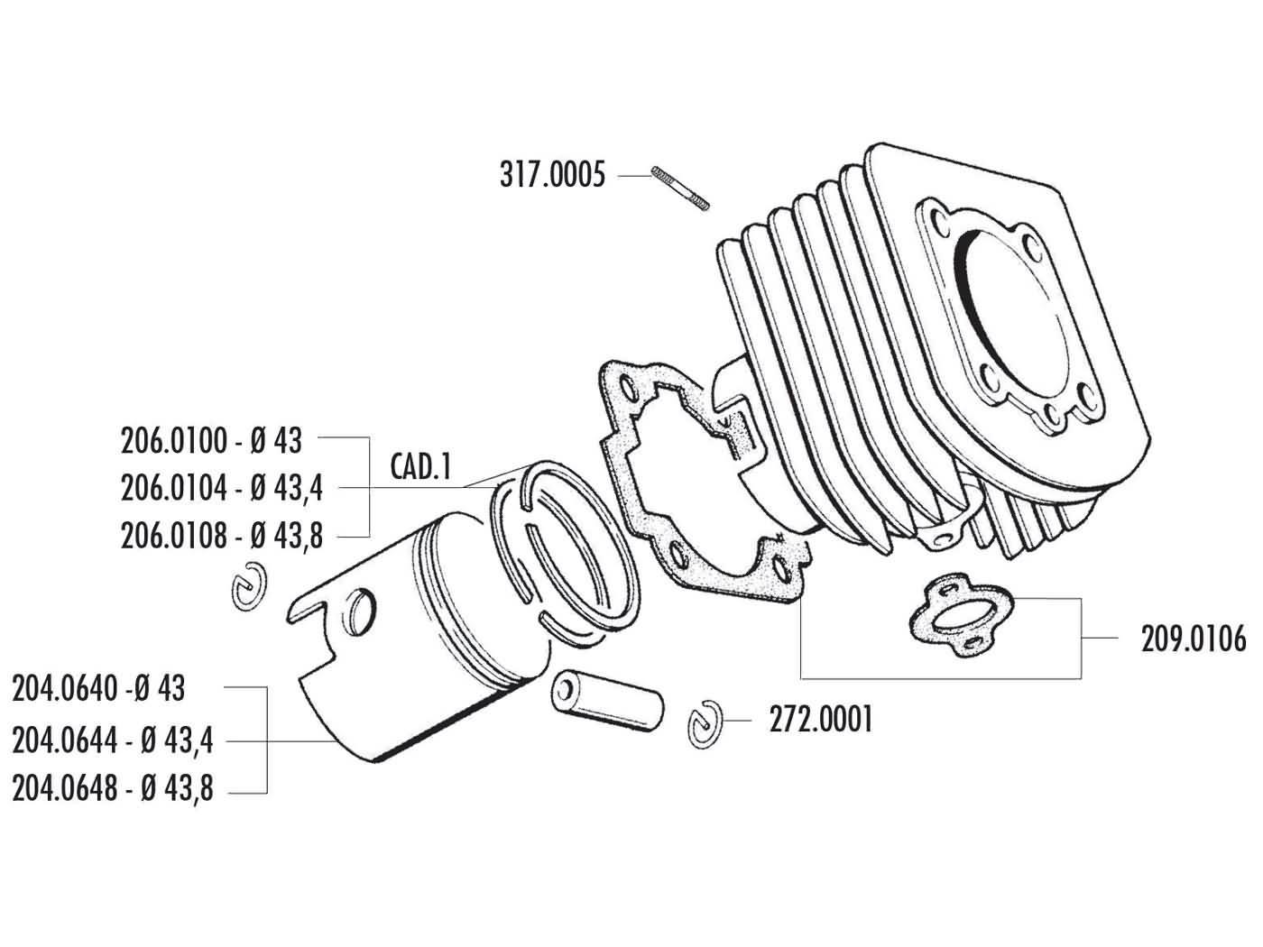 Cylinder Kit Polini Cast Iron Sport 63cc 43mm For Piaggio Vespa Al Wiring Diagram Px150e Alx Nlx Vespino