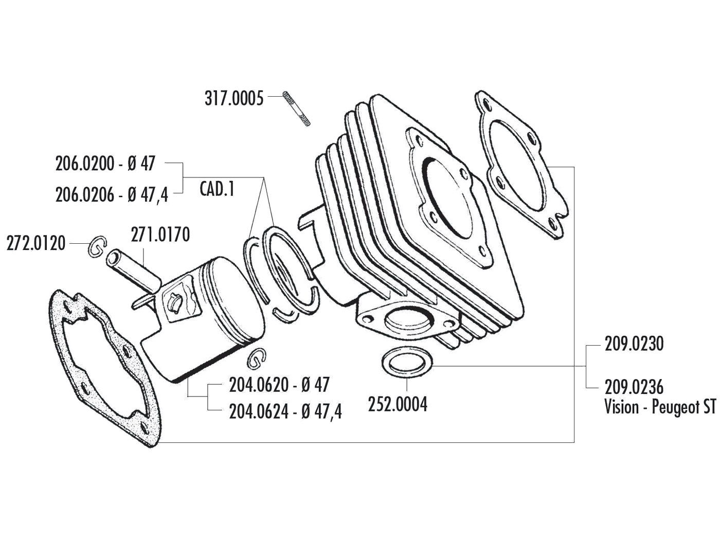 Piston Set Polini D47 Sport 70cc 47mm For Minarelli 1e40qmb Engine Diagram Peugeot Honda
