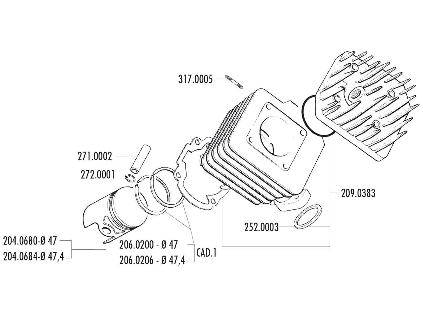 Cylinder Kit Polini Cast Iron Sport 70cc 47mm For Honda Kymco Sym Engine Diagram Gr1