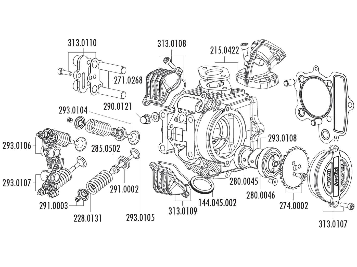 Zylinderkopf polini aluminium 107ccm 52mm 4v f r honda xr for Electrical motor controls for integrated systems 4th edition