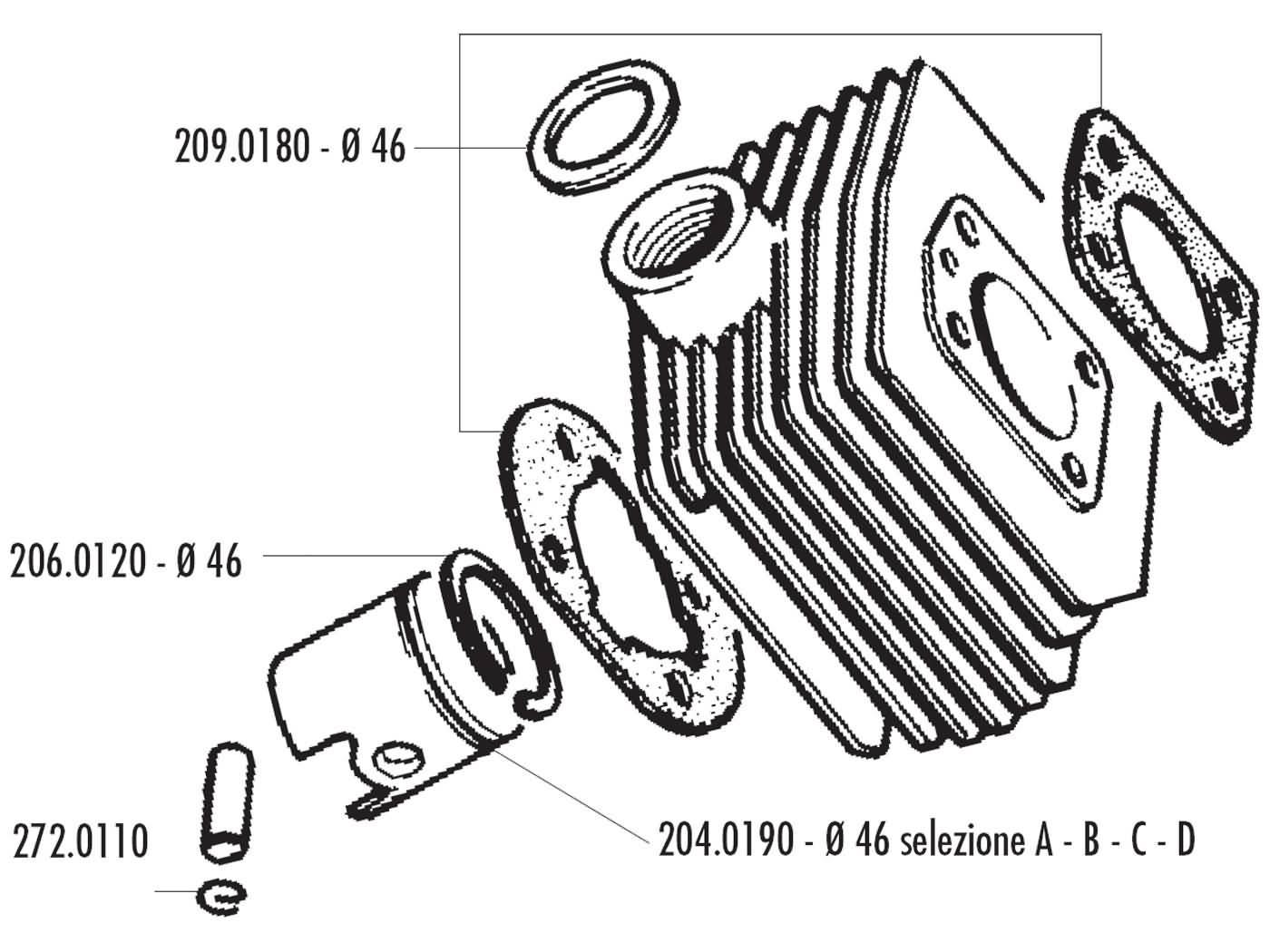 Cylinder Kit Polini Aluminum Sport 70cc 46mm For Mbk Av 10 51 Hand Sealer Sj0052 92gt M16