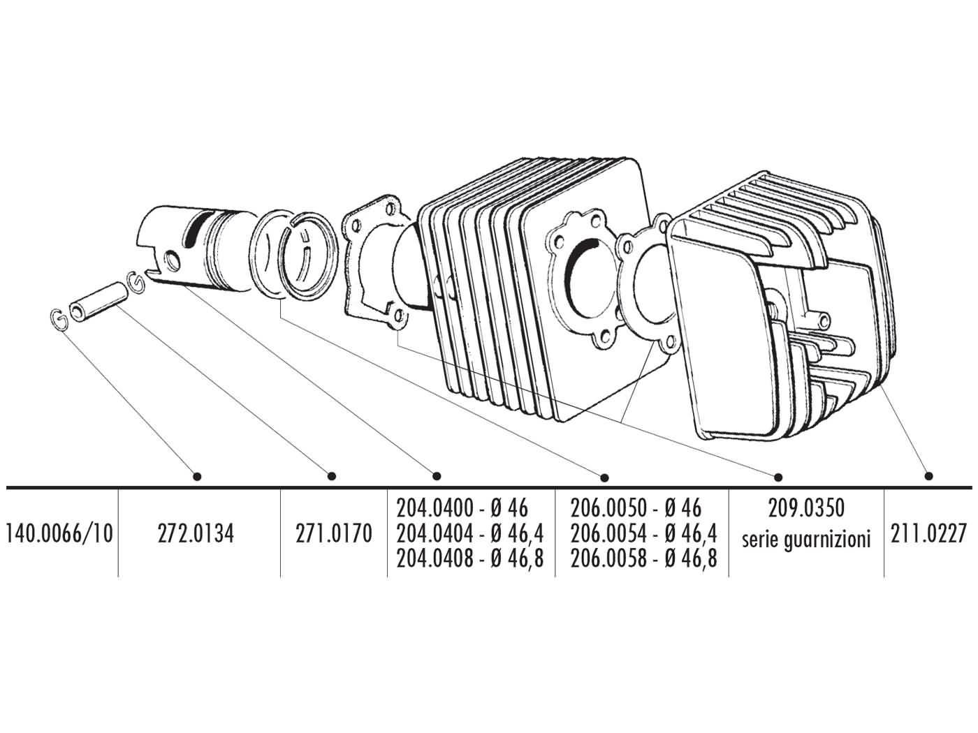 Cylinder Kit Polini Cast Iron Sport 70cc 10mm Piston Pin For Piaggio Engine Diagram Ciao