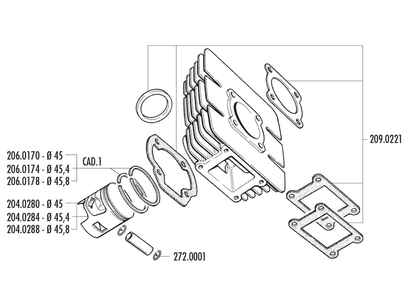 Cylinder Kit Polini Cast Iron Sport 63cc 45mm For Yamaha Dt Ac Hand Sealer Sj0052 Back 50 R M Mx 92