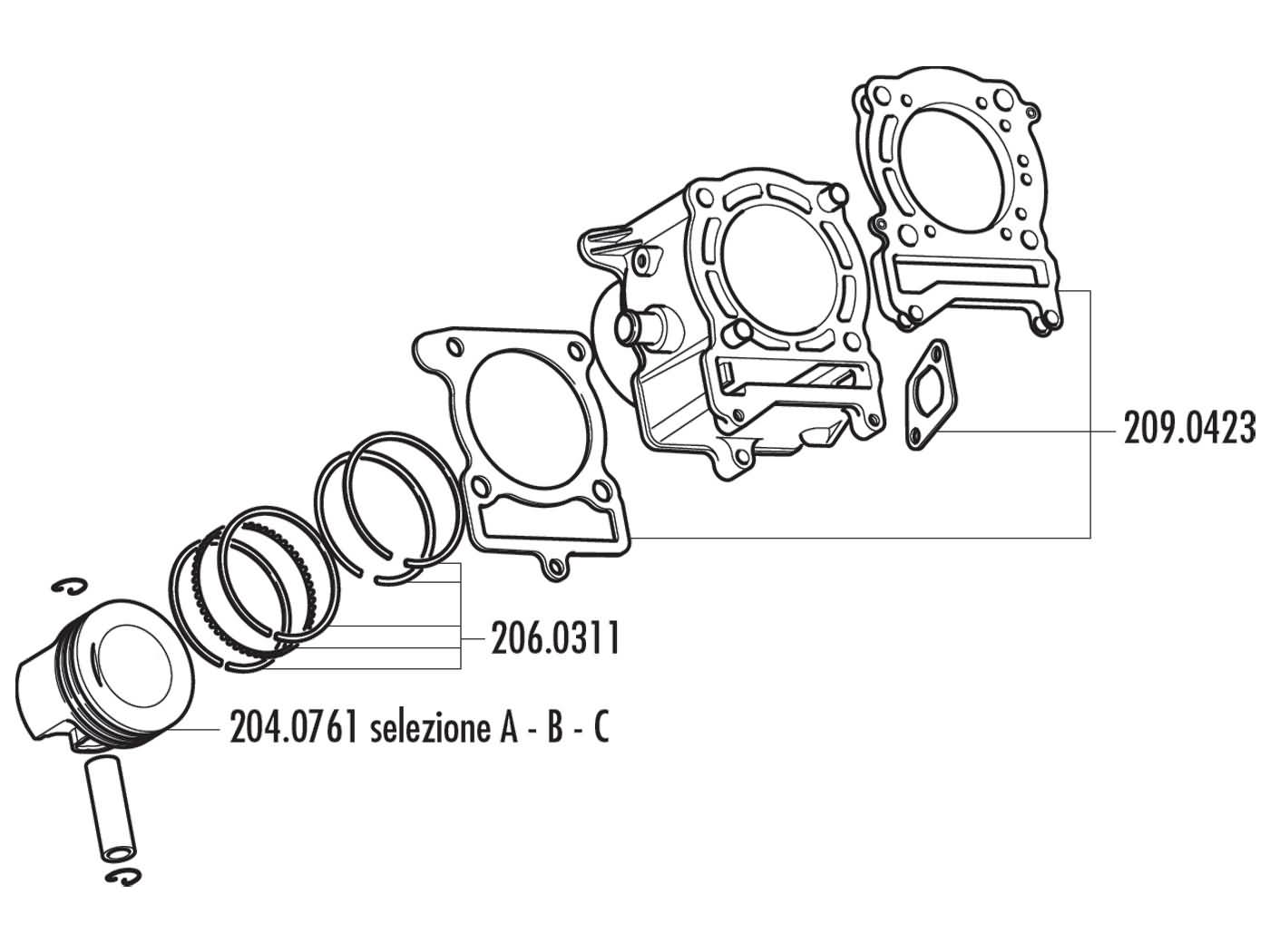 Piston Kit Polini 170cc 63mm C For Yamaha Majesty Benelli Velvet Cf Moto E Charm 150cc Wiring Diagram Mbk Cityliner 125 4t