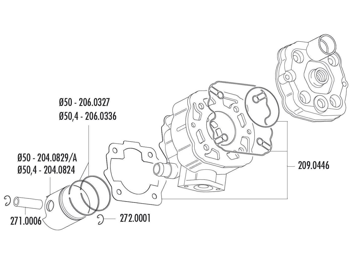 Piston Ring Polini 80cc 50x1mm For Derbi D50b0 Ebe Ebs