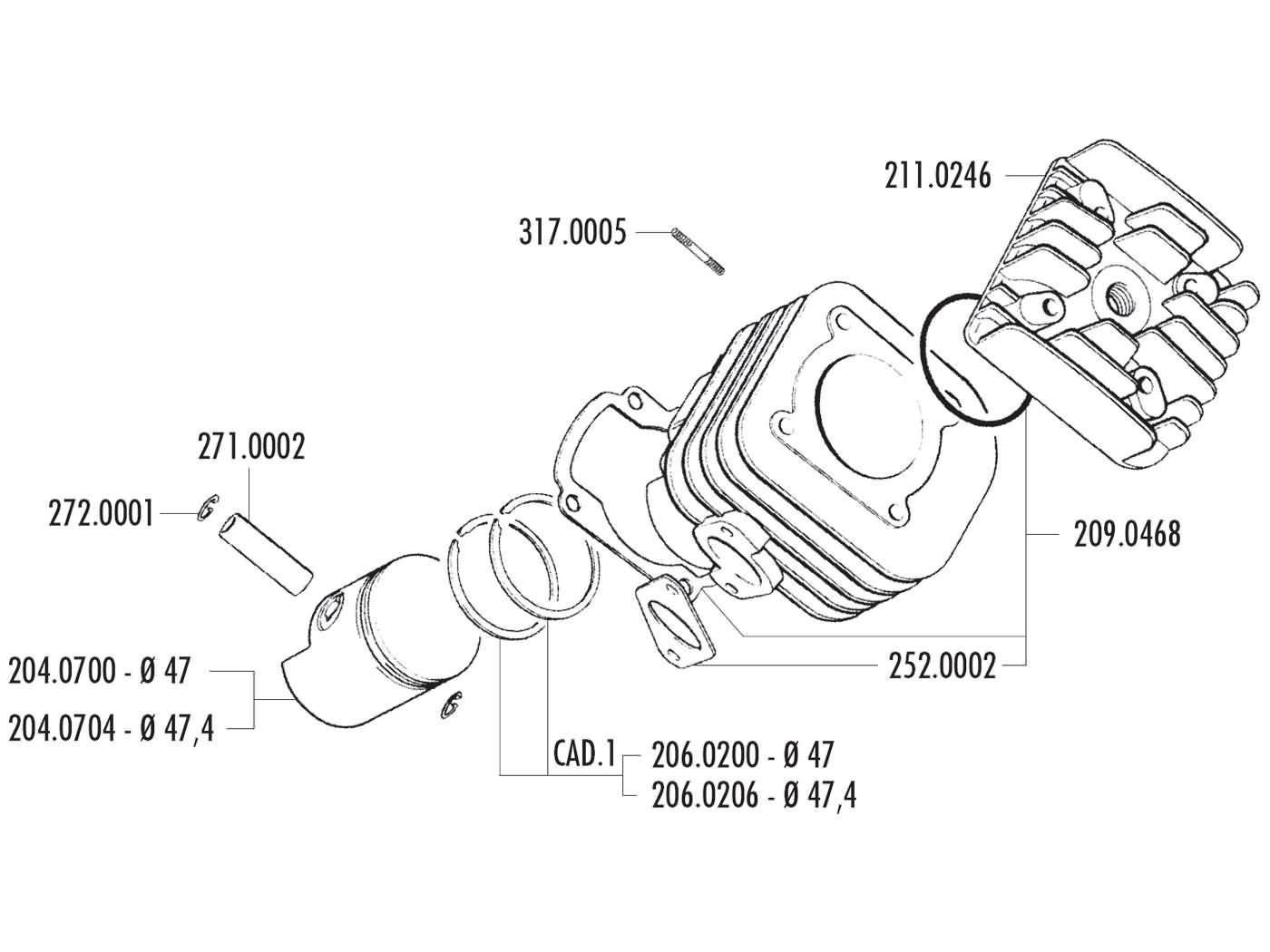 Zylinderkopf Polini Sport 70ccm 47mm Fr Minarelli Liegend Ac Cpi Roketa Maui 50 Wiring Diagram Keeway Kymco Sf10