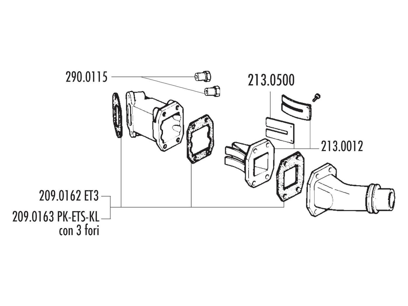 Intake Manifold Polini Reed Block 24 285mm For Vespa 50 Special Elite Popcorn Machine Wiring Diagrams 125 Primavera Et3